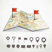 Folded abstract city map with the route and collection of different pins