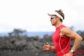 picture of triathlon  - Running triathlon athlete man - JPG