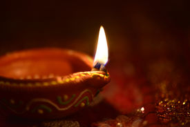 picture of laxmi  - An Indian lamps on dark background - JPG