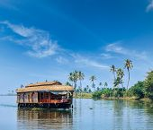foto of houseboats  - Travel tourism Kerala background  - JPG