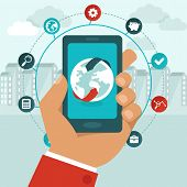 foto of globalization  - Vector mobile phone with icons in flat style  - JPG