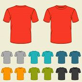 image of t-shirt red  - Set of templates colored t - JPG