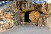 stock photo of jesus  - replica of the tomb of jesus in israel  - JPG