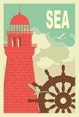 Marine Poster With Lighthouse
