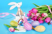 Easter Decoration With Wooden Bunny And Eggs In Pastel Colors