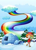 image of igloo  - Illustration of an elf near the igloo with a rainbow in the sky - JPG