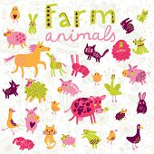 picture of baby goose  - Funny farm animals in vector set - JPG