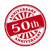 stock photo of 50th  - illustration of grunge rubber stamp with the text 50th anniversary written inside - JPG