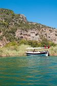 picture of dalyan  - Lycian tombs on the Dalyan River in Turkey - JPG