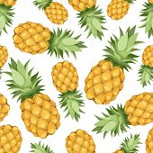 stock photo of exotic_food  - Vector seamless background with pineapples on a white background - JPG
