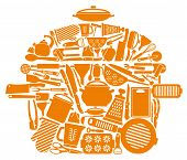 foto of brazier  - Icons of kitchen ware and utensils in the form of a pan - JPG