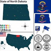 Map Of State North Dakota, Usa