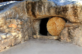 stock photo of empty tomb  - replica of the tomb of jesus in israel  - JPG