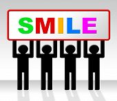 Joy Smile Represents Friendliness Cheerful And Positive poster