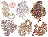 foto of indium  - collection of hand draw line art ornate flower design - JPG