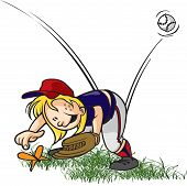 picture of little-league  - A cartoon little league baseball outfielder playing with a bug - JPG