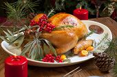 foto of orange-tree  - Roasted turkey garnished with sage rosemary and red berries in a tray prepared for Christmas dinner - JPG