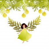 picture of christmas angel  - Vector illustration of Christmas tree and an angel - JPG
