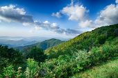 picture of blue ridge mountains  - Blue Ridge Mountains Scenic Overlook Blue Sky and Clouds - JPG