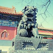 pic of lamas  - Ancient bronze lion and red chinese paviliones in famous Lama Temple  - JPG