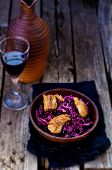 foto of duck breast  - red cabbage and duck breast spicy salad in to cerami - JPG