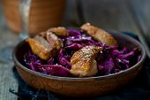 stock photo of duck breast  - red cabbage and duck breast spicy salad  - JPG