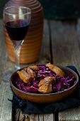 pic of duck breast  - red cabbage and duck breast spicy salad  - JPG