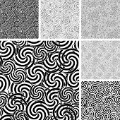 picture of uncolored  - Collection of seamless abstract uncolored wave textures - JPG
