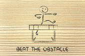 picture of overcoming obstacles  - hurdle design metaphor of overcoming the obstacles in life and winning the challenge - JPG