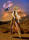 foto of fantasy  - lady with fantasy hairstyle and fantasy clothes with a dragon cub on the arm - JPG