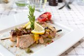 picture of swordfish  - Swordfish fillet grilled with souse lemon and rosemary - JPG