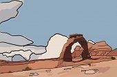 pic of arch  - A digital painting of a stone arch in the desert with thick black outlines - JPG