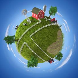 stock photo of farm landscape  - 3D concept with farm on the ball - JPG