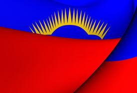 stock photo of murmansk  - 3D Flag of Murmansk Oblast - JPG