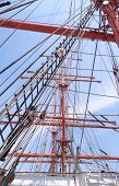 stock photo of sailing vessel  - Mast and guy cables of sailing vessel - JPG