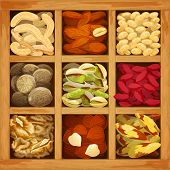 stock photo of brazil nut  - Nuts assorted collection of nutmeg walnut brazil almond in wood box vector illustration - JPG