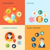 pic of hay fever  - Allergy design concept set with food hay fever allergen avoidance treatment icons set isolated vector illustration - JPG