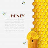 stock photo of beehive  - Honey background with hexagon honeycomb beehive and bumblebees insects vector illustration - JPG