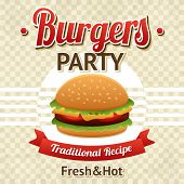 foto of hamburger  - Fast food poster with beef hamburger and burgers party text vector illustration - JPG