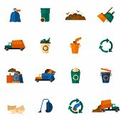 stock photo of dumpster  - Garbage icons flat set with dumpster trash bin cleaning bulldozer isolated vector illustration - JPG