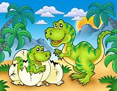 pic of dinosaur-eggs  - Tyrannosaurus rex in tropical landscape  - JPG