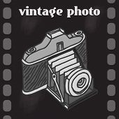 pic of analogy  - Vintage analog photo camera on film background retro poster vector illustration - JPG