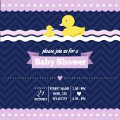 stock photo of baby duck  - baby shower invitation with duck in retro style vector format - JPG