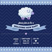 pic of baby sheep  - baby shower invitation with sheep in retro style vector format - JPG