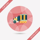 stock photo of wreckers  - Transportation Tow Truck Flat Icon With Long Shadow - JPG
