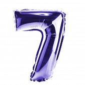 stock photo of number 7  - Purple Chrome balloon font part of full set of numbers - JPG