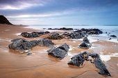 picture of atlantic ocean beach  - Rocky beach at Atlantic ocean in Ireland - JPG