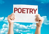 stock photo of poetry  - Poetry card with sky background - JPG