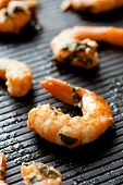 stock photo of shrimp  - Close up of some small shrimps cooked on the grill - JPG