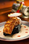 picture of crisps  - Crisp Salmon Steak with Black Risotto and Cream Sauce - JPG